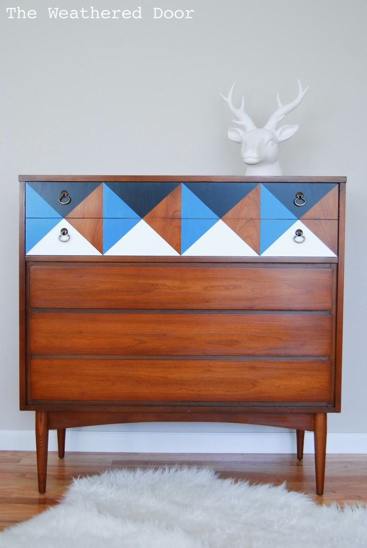 Hometalk :: Painted Geometric Mid Century Dresser By The Weathered Door.gos  With Article Just Posted.