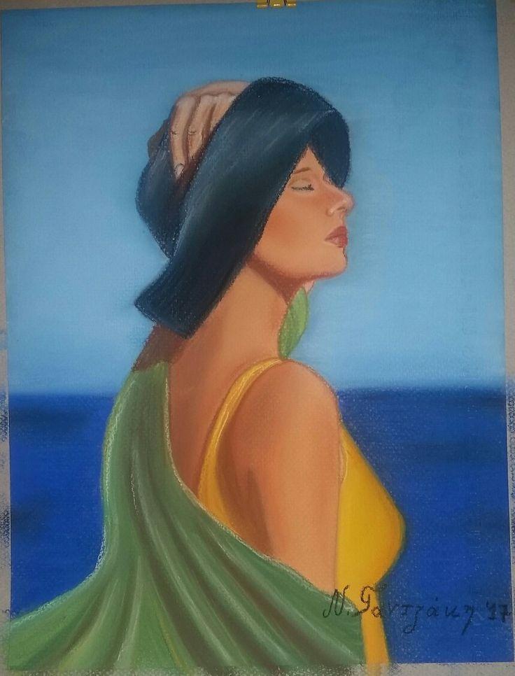 #woman #My_painting #paintings #sea #hat