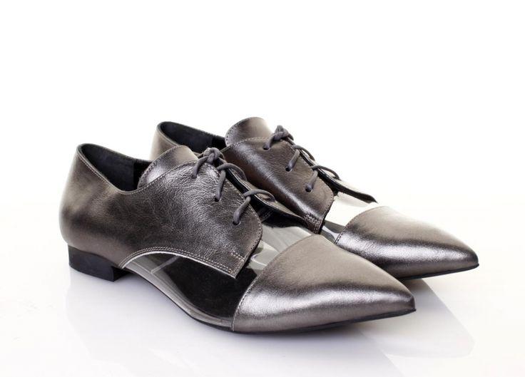 Pantofi piele argintie