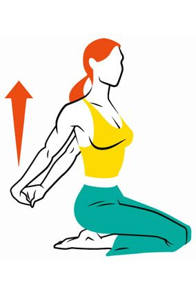 Do this stretch several times a day. It pulls your shoulders back, since most of us lean forward all day.