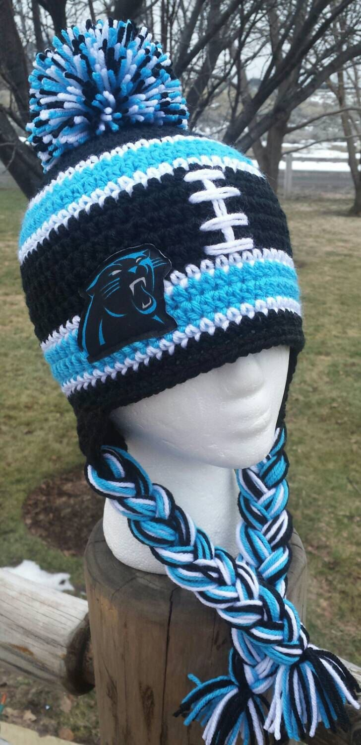 Carolina Panthers Inspired Hat, Carolina Panthers beanie, Crochet Panthers, Panthers Men, Panthers Kids, Panthers Women, Panthers baby by AtTheLilyPond on Etsy https://www.etsy.com/listing/265735484/carolina-panthers-inspired-hat-carolina