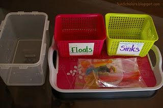 """A container of water, two containers (one marked """"floats"""" and the other """"sinks""""), and an assortment of items for the experiment"""
