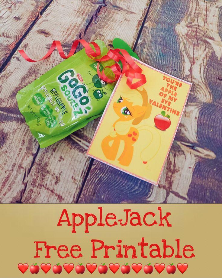 FREE My Little Pony Apple Jack Valentine's Day Printable