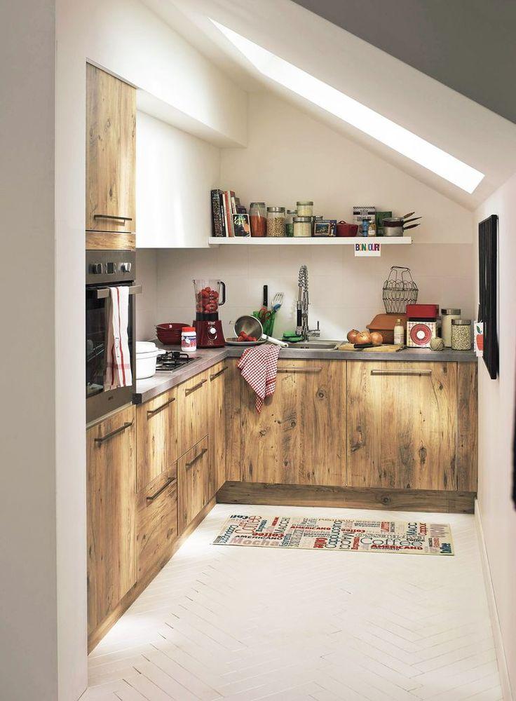 Petite cuisine bois Home Design Pinterest Kitchens, Small - hotte integree dans meuble haut