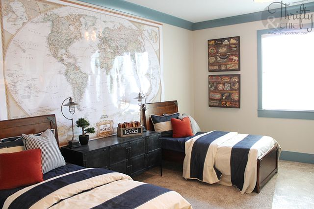 Love the huge map in this boys room. Thrifty and Chic - DIY Projects and Home Decor