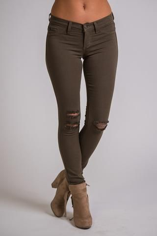 Star Of the Season Distressed KanCan Jegging (Olive) - NanaMacs.com - 1