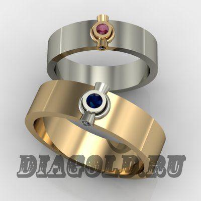 Обручальные кольца с сапфиром, рубином и бриллиантами