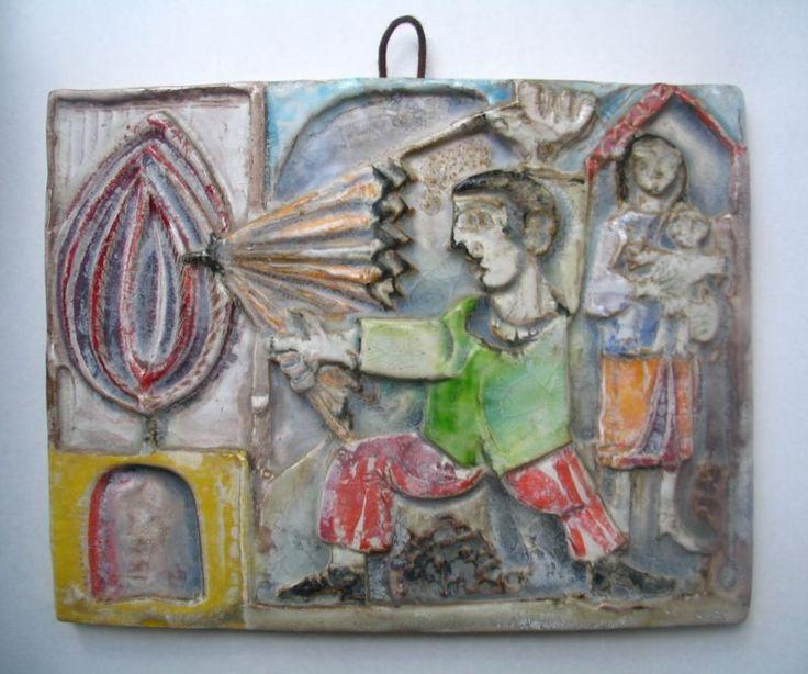Giovanni De Simone placca in ceramica 32,5 x 40 anni 60-70'