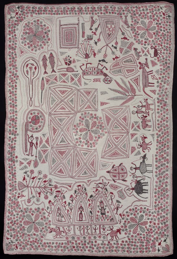 Kantha with auspicious objects, late 19th- or early 20th-century.