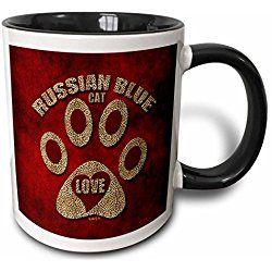 Russian Blue Cat Mug Love Cat Breed in Cheetah Print and Red Two Tone Black Mug, 11 oz, Black/White