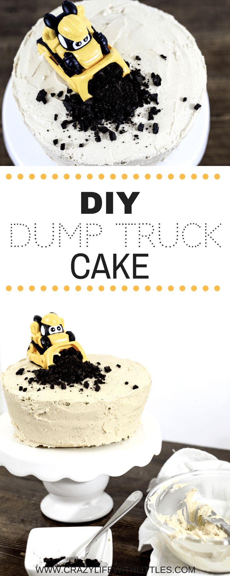 dump truck cake, diy vanilla cake, homemade cake recipe, dump truck birthday, construction birthday, easy peanut butter icing recipe, boys birthday party