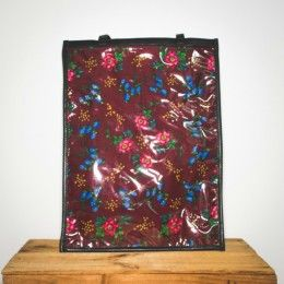dark red floral and leather bag