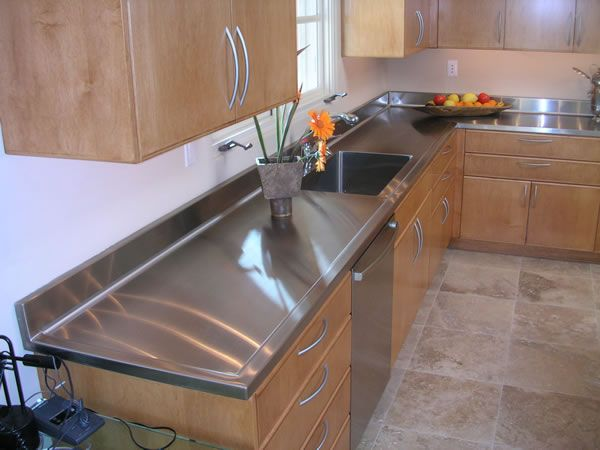 14 best kitchen ideas images on pinterest kitchen ideas for Stainless steel countertop with integral sink
