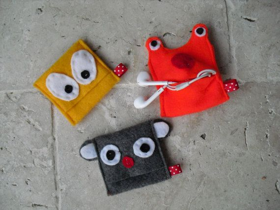 small or medium monster headphone case mini pouch by MindfulGrace