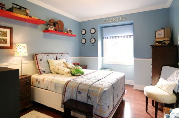 Light and dark blue are combined to create two-toned walls that make a lovely backdrop for kids' bedroom - Decoist