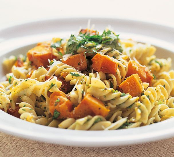 Pasta with Asian Pesto and Roasted Pumpkin