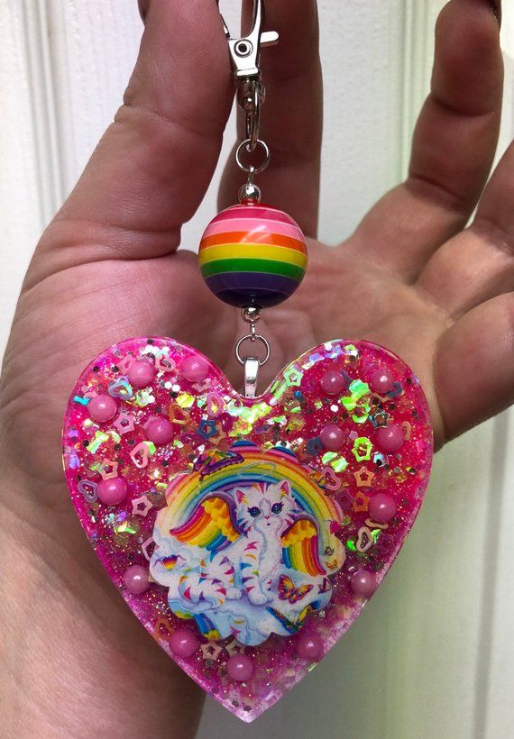 Purple and Pink Resin Heart Keychain with Lisa Frank Sweet Ice Cream Kitty and Dalmatian