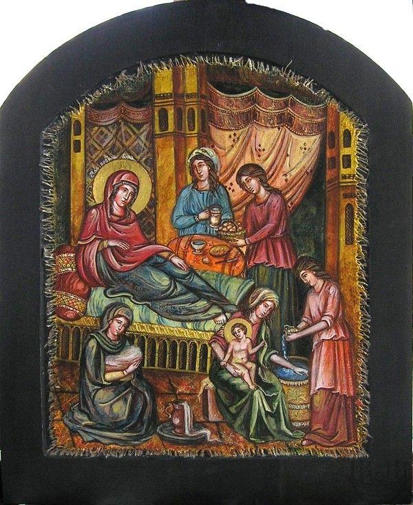 Рождество Пресвятой Богородицы. Икона не просто передает догматическое содержание праздника, но и носит черты бытовых подробностей