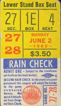 Here is a ticket stub from a mets doubleheader on 6-2-1963 against the pittsburgh pirates. The mets won both games of the doubleheader by the scores of 2-1 in game 1 and 4-3 in game 2. In game 1 of the DH Duke Snider hit is 9th phomerupn of the season for the mets. In game 2 Jim Hickman hit a game winning homerun for the mets in the 10th inning. The homerun was hickmans 6th of the year. The attendance for the games was 18,844 at the polo grounds.