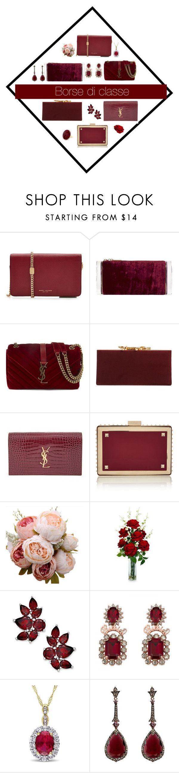 """""""Borse e gioielli di classe"""" by delfino-rosim ❤ liked on Polyvore featuring Marc Jacobs, Edie Parker, Yves Saint Laurent, Jimmy Choo, Valentino, Nearly Natural, Annoushka and Anne Sisteron"""