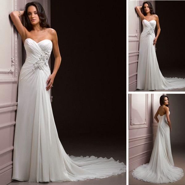 Sweetheart neckline applique waist chiffon discount for Tall dresses for weddings