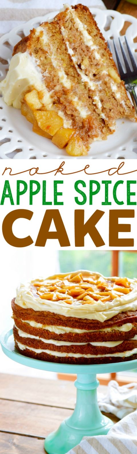 This Naked Apple Spice Cake is full of the most delicious apple and spice flavor and is so moist! Perfect for even a beginning baker!