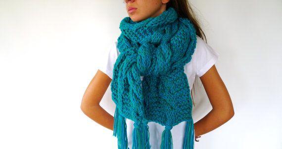 Bufanda original hecha a mano. Bufanda de lana para mujer. Bufandas gruesas. Bufandas tejidas. Ideas para regalar para ella