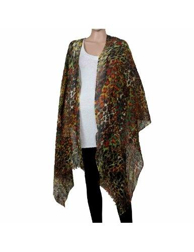 Grand foulard multicolore - Châle léger en laine et soie - Accessoire de mode Taille: 188 x 68 cm: Amazon.fr: Vêtements et accessoires