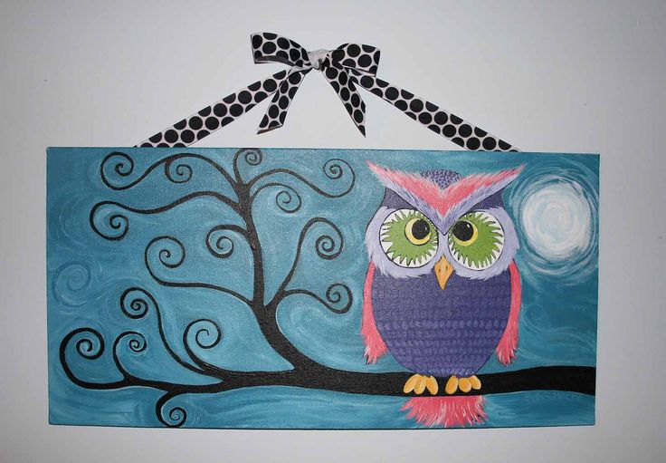 Whimsical Owl Painting in a Tree Original on Canvas Board. $65.00, via Etsy.