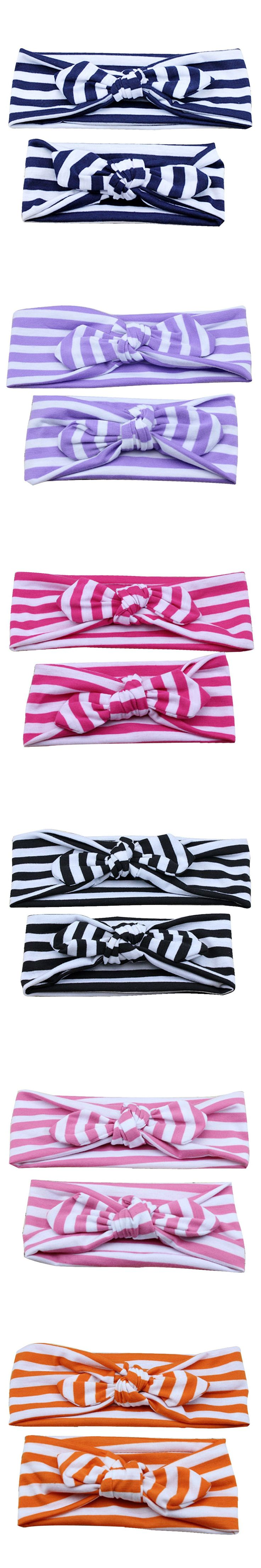 2 Pcs Adults And Baby Headbands Fashion Bandeau Cheveux Elastic Hair Bands Cloth Bowknot Headwear Haar Accessoires