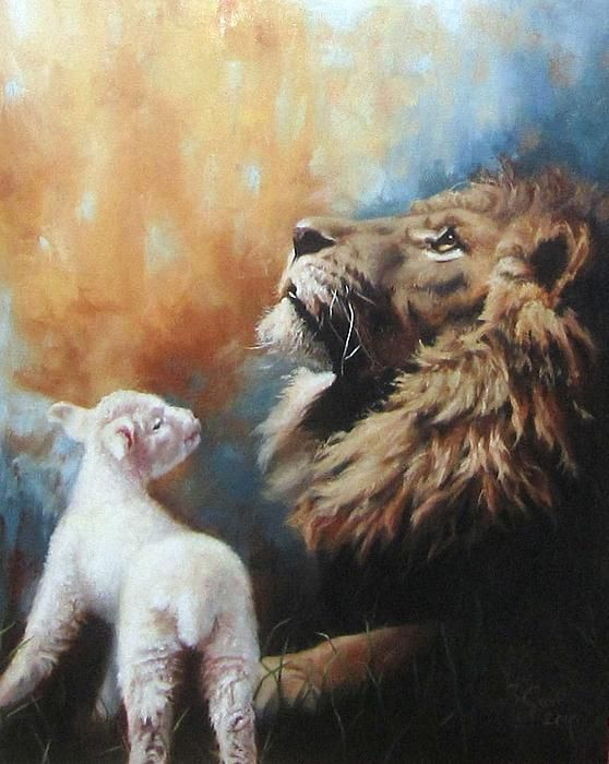 (March 1, 2013) The Lion and the Lamb Painting by Sarah Good (In like a Lion, out like a lamb)
