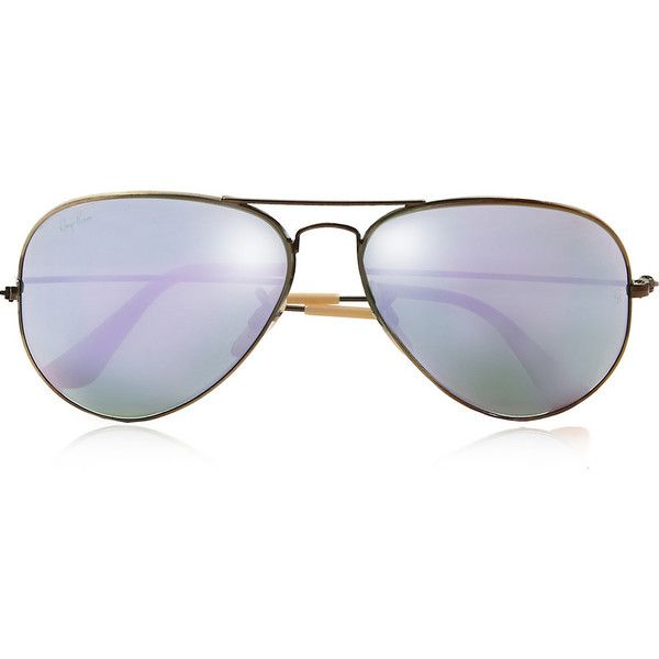 Ray-Ban Aviator gold-tone mirrored sunglasses (£145) ❤ liked on Polyvore featuring accessories, eyewear, sunglasses, glasses, aviator sunglasses, ray-ban, mirrored lens aviators, mirror aviators and mirror aviator sunglasses