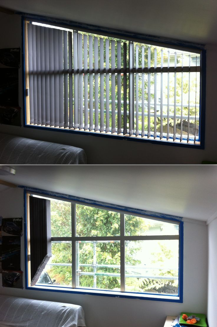 vertical blinds are an economical way to deal with angled windows; take to ryan at blindsonline.net.nz about your requirements