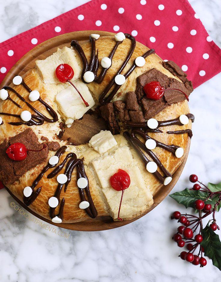 Una Rosca de Reyes hecha con masa de Vainilla y decorada con chocolate semi amargo y chocolate blanco, mega deli y fácil de hacer.