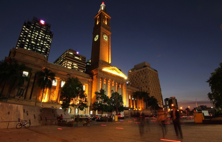 Our #Brisbane City Hall and King George Square light up at night. Looks great.