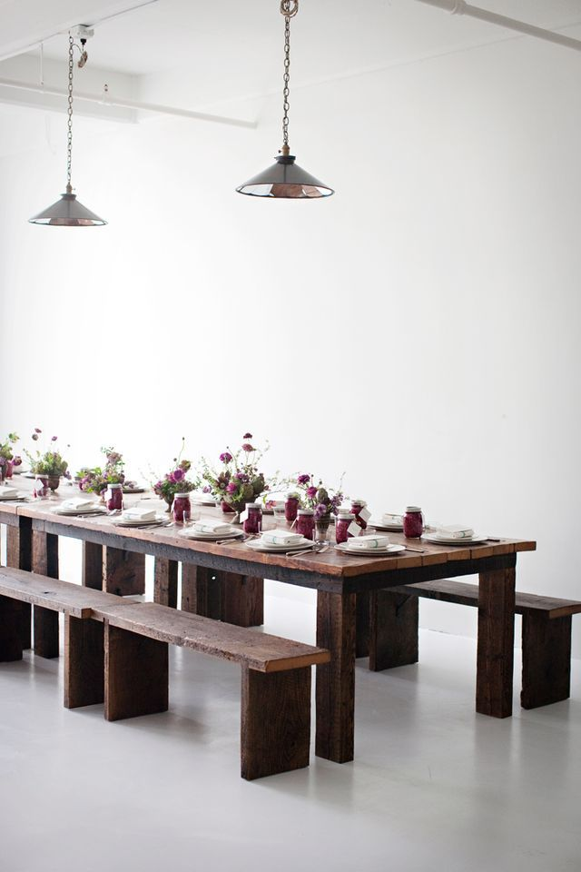 table and benches....Dining Room, Tables Sets, Dinner Parties, Kitchens Tables, Wood Tables, Sunday Suppers, Long Tables, Farms Tables, Tables Decor