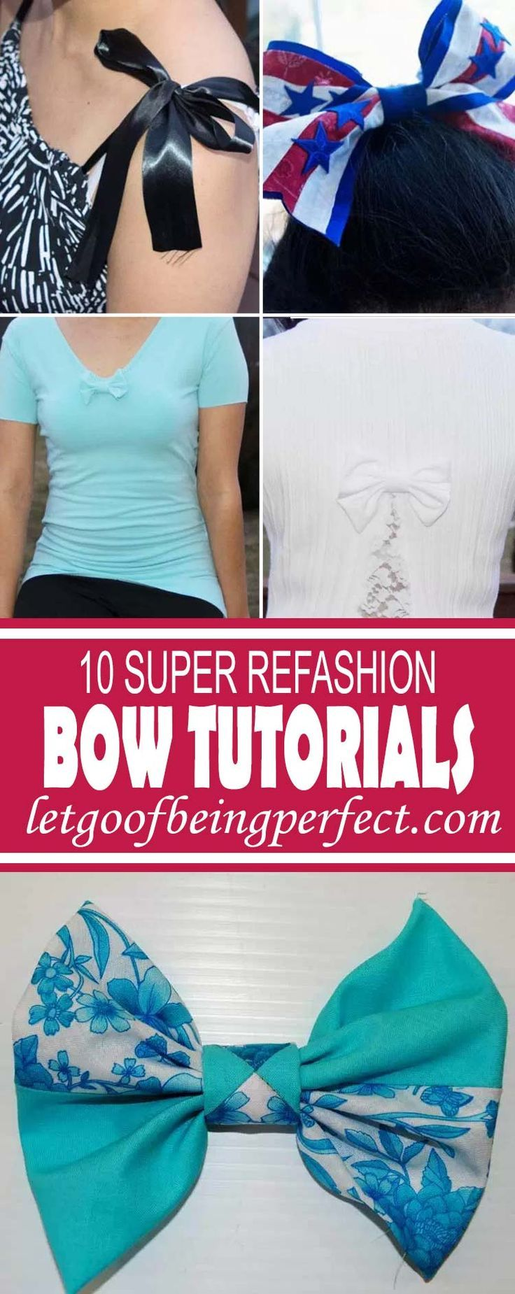 10 Super Bow Refashion Tutorials - 10 super step-by-step DIY sewing tutorials with clear photographs and instructions. Upcycle some old t-shirts, sweaters, and other fabrics to make these cute bow outfits for yourself or your home.  A great, low-cost way to change up your wardrobe or home accessories. Remake, redo, reuse, and recycle to help save money and save the planet. Explore the web site...