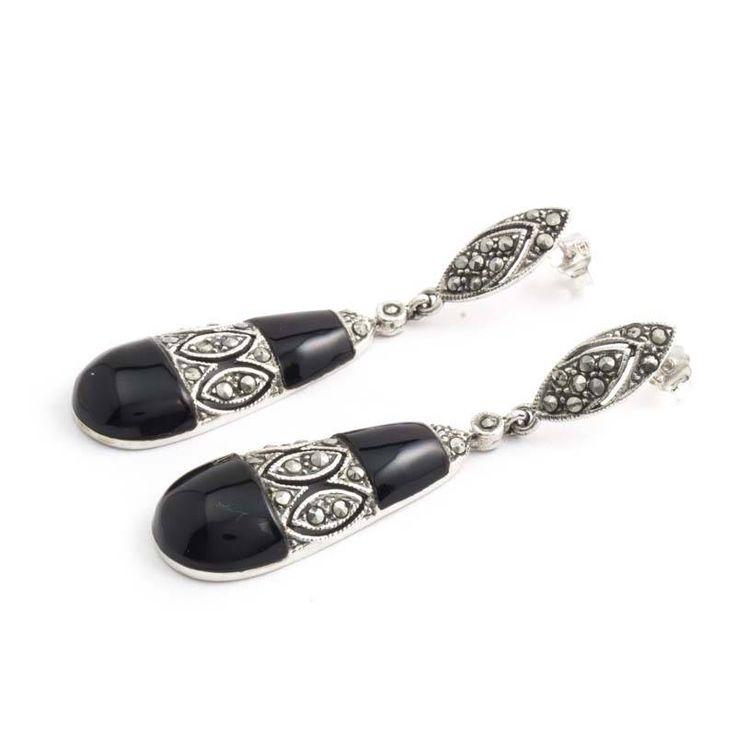 Aurora Patina Lange zilveren oorbellen met onyx en markasiet in vintage stijl