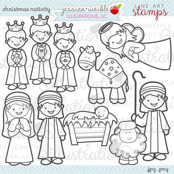 Christmas Nativity Cute Christmas Digital by JWIllustrations