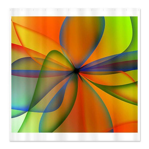 CafePress Orange Swirl Flower Shower Curtain  Standard White >>> Learn more by visiting the image link.