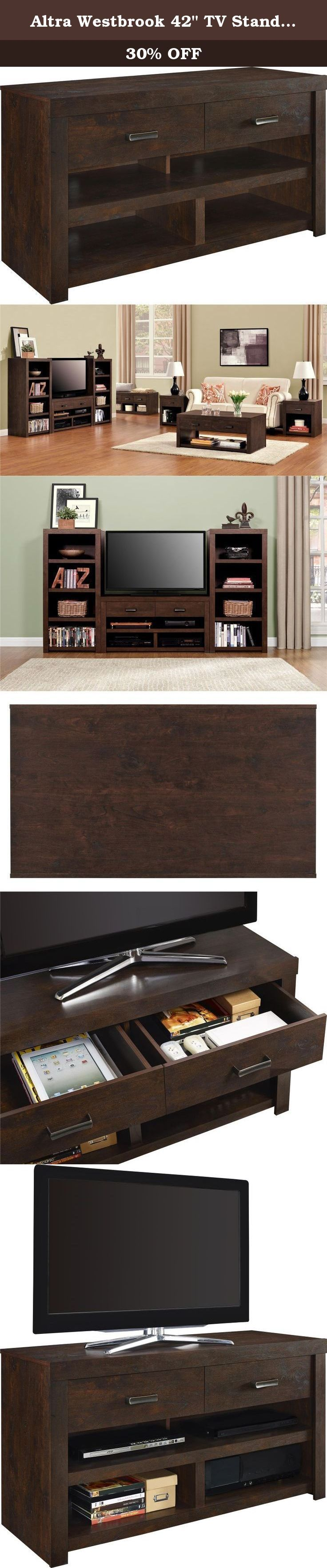 """Altra Westbrook 42"""" TV Stand, Dark Walnut. Designed with a Dark Walnut finish and Antique Bronze hardware, the Altra Westbrook 42"""" TV Stand is an elegant addition to your living room. This beautiful TV stand accommodates up to a 42"""" flat screen TV. The 4 open shelves are designed to hold your DVD player, cable box, sound bar or gaming console. Use the 2 drawers to organize DVDs and video games. Westbrook 42"""" TV Stand requires assembly upon delivery."""