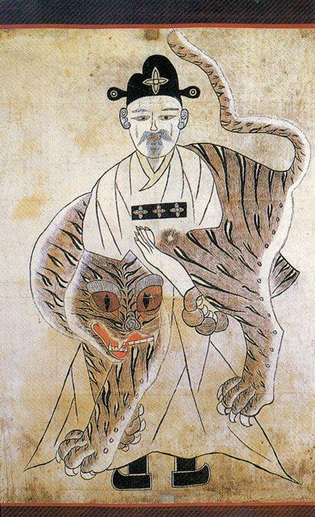 산신도 호랑이를 거느린 산신(山神) 그림은 옛 한국의 무교(巫敎)가 호랑이를 산신의 종으로 보았던 데서 유래한다. 단군의 어머니가 된 곰과 굴 속에 살다가 사람이 ...