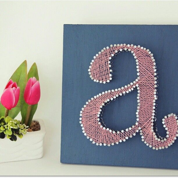 Decorative Wall Letters Pinterest : Custom string art letter quot a wall decor