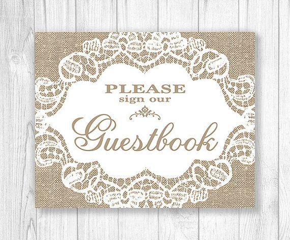 Toile de jute mariage signe, signe de mariage imprimable, imprimable de toile de jute et dentelle mariage signe, s'il vous plaît signe notre livre d'or - 013