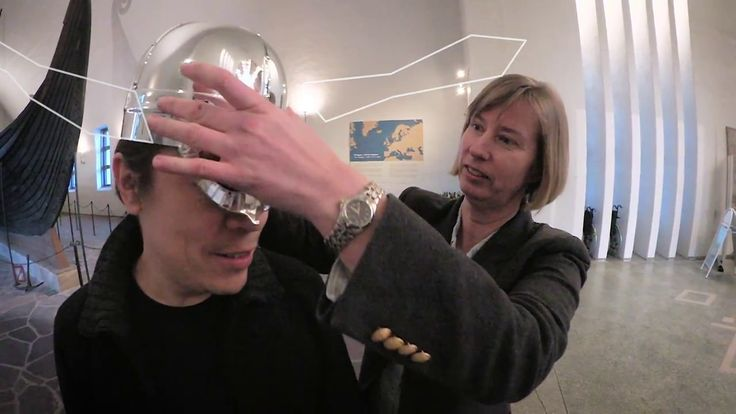 """Everyone thinks VIkings had Helmets with horns. Here you see Ellen Marie Næss (viking archeologist from Norway) explain the host, Ronald Sagatun, from Norway why. - """"It was simply not practical"""". Would you go to battle with these obstacles at your helmet?"""
