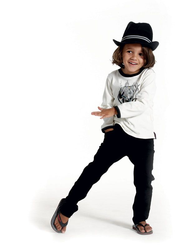"""Alexandros (4) melts hearts in a long-sleeved T-shirt from Jelli, black skinny jeans from Pick n Pay Clothing, Havaianas from Stuttafords and a """"Jean Bourget"""" hat from Jelli."""