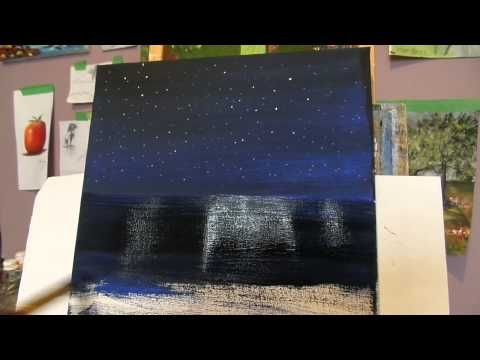 Painting a starry night sky with shinning stars Lesson 2