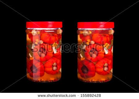 #Jar with #pickled #tomatopeppers #filled with #grapes - #stockphoto #Shutterstock #red