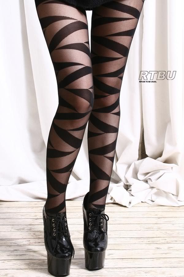 Punk Chic Strappy Mummy Ribbon Wrap Bandage Sheer Opaque Tights Pantyhose | eBay