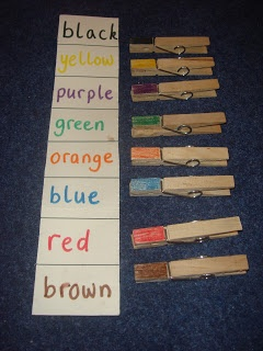 Clothes pins coloured with markers to match to same colour printed words on cardboard strip. Make wider than shown to pins don't cover words.